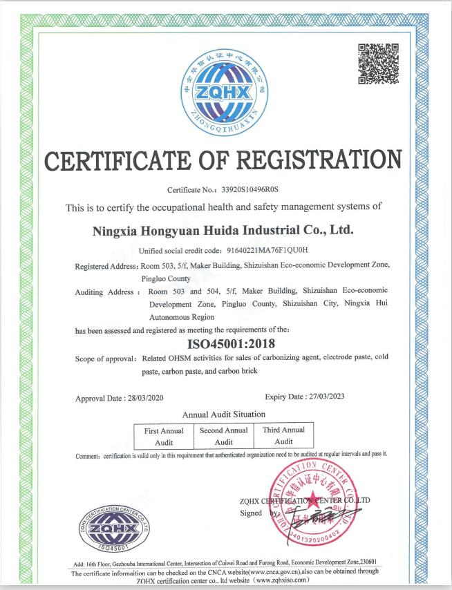 The occupational health and safety management system of Ningxia Hongyuan Huida Industrial Co.,Ltd