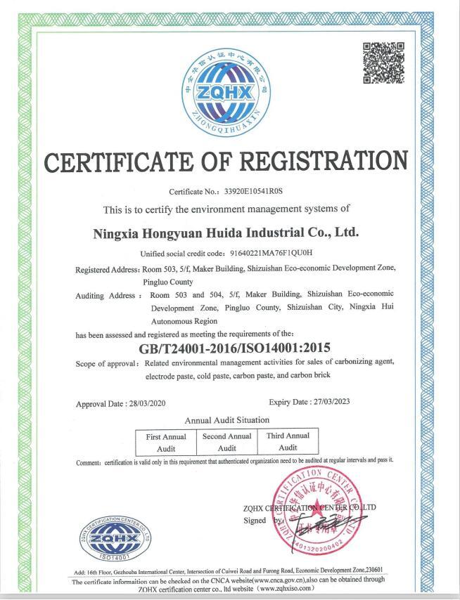 Enviroment management system of Ningxia Hongyuan Huida Industrial Co.,Ltd