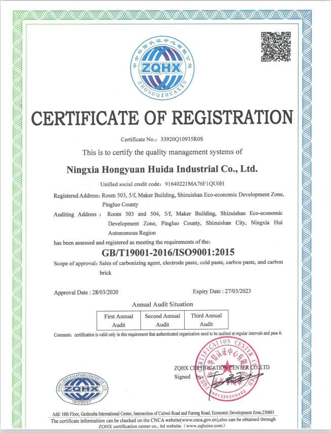 Quality management system of Ningxia Hongyuan Huida Industrial Co.,Ltd